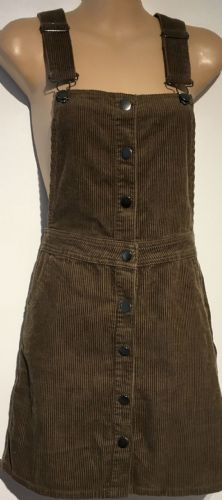 DOROTHY PERKINS BROWN POPPER CORDUROY PINAFORE DRESS SIZE 8